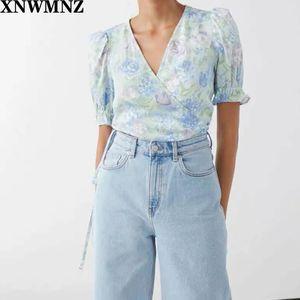 XNWMNZ Fashion Blue Purple Floral Print women blouse Vintage V Neck blouses Elegant Warp women blouses