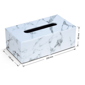 Marmo rettangolare Cuoio Facial Tissue Boxes del tovagliolo della copertura del tovagliolo di carta Holder Dispenser Container per il Ministero degli Car Decor