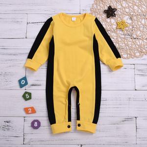 Infantil Criança Bebés Meninas Meninos clássico Macacão Amarelo Romper manga comprida Recém-nascido chinês Kongfu Bruce Lee Roupa