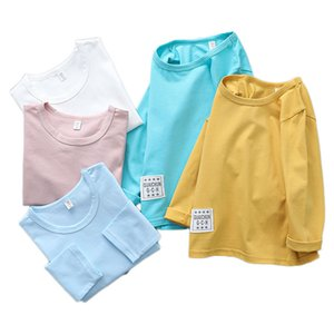 2020 Spring Autumn Children Shirts Long Sleeve Tops For Kids Solid Color Girls Blouse Boys Tees Toddler Outerwear