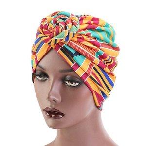 Kadınlar Pamuk Turban Şapka Spiral Düğümlü Forehead Ön Bağlı Kafa Wrap Etnik Geometrik Desenler Retro Beanie Cap