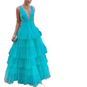 2020 summer new Amazon popular European and American foreign trade womens mesh cake skirt suspender dress dress