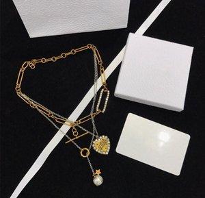 2020 Spring / Summer Fashion perla amore di marca dei monili del progettista di lusso su misura importato in ottone con collana di perle a tre strati