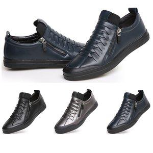 2019 Hot Toda venda Primavera homens sapatos de couro macio fundo sapatos casuais superfície macia preto tamanho sapatos azuis esportes de prata 39-44 transporte livre
