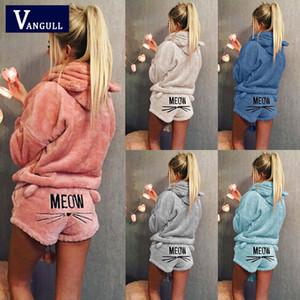 Les femmes Corail Costume de velours Deux Piece Automne Hiver pyjamas chauds vêtements de nuit Chat mignon Meow Motif Hoodies Shorts Set VANGULL 2018 Nouveau