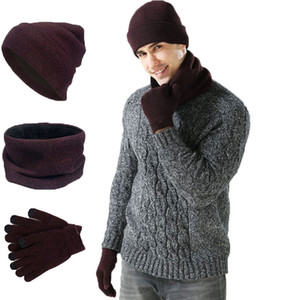 Knitting Hat Scarf Glove Sets Fashion Men Women Beanie Hats Unisex Winter Scarf Causal Ourdoor Warm Gloves TTA1630