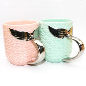 골드 실버와 세라믹 텀블러 크리 에이 티브 세라믹 컵 차 컵 커피 잔 아침 식사 우유 컵은 여행 머그컵 DBC DH1098를 처리 인어의 꼬리
