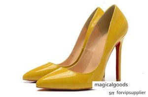 Cream Yellow Set Foot Single Red Bottom Heels Women 12cm High Heel Ladies Female Low Footwear Pumps Wedding Shoes