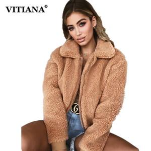 VITIANA Frauen beiläufige Faux-Pelz-Mantel Weiblich 2018 Herbst-Winter-elegante lose warme weiche Outwear Reißverschluss Teddy Overcoat Jacke