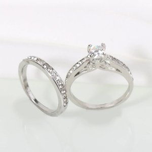 20set Silver Plated Wedding Ring Shellhard Lovers Crystal Couple Rings Set For Men Women Jewelry Engagement Wedding Rings 2pcs
