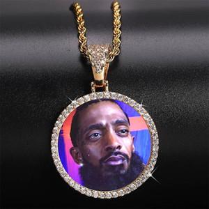 Fotos personalizadas Colares de Jóias de Moda 18 K Banhado A Ouro Círculo Colar de Pingente de Memória Bling Zircão Pavimentado Colares de Hip Hop LN129