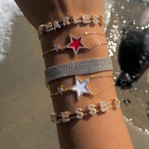 Pulsera de eslabones de esmalte coloroful star para mujeres de niña Chapado en oro de alta calidad cz pavimentado clásico de moda pulseras de diseño