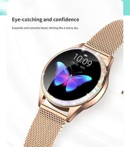 Diamante lega elegante orologio Bluetooth Schermo intero Donne intelligente orologio cardiofrequenzimetro sport signora vigilanza per IOS Android Xiaomi KW20
