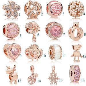 Ajustar cuentas del embutido Crystal Rhinestone de Pandora de oro huecas de joyería DIY cuentas de cristal pulseras para mujer del favor de partido regalos