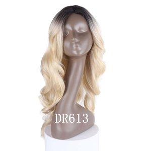 Ombre Color Wig Purple Body Wave Hair Wigs 30 # 27 # Blue Alta calidad Resistente al calor Sintético Verde Lace Wigs