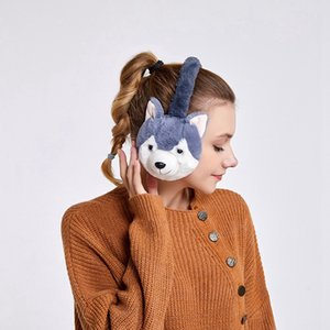 Kawaii Tierpelz Earmuffs 2020 neue Ankunfts-Ohr-Wärmer Dog Ear Muffs Winter Accessoires für Frauen plushed Cartoon Husky