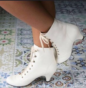 Nouveau Femmes d'hiver Chaussures Vintage Martin bottillons Mode Goblet Talon haut Style Europe lacent Bottines Chaussures pas cher Big Taille 35-43