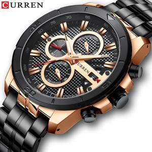Curren Montre Homme Top Marque de luxe chronographe à quartz en acier inoxydable Montres-bracelets hommes d'affaires Horloge Relogio Masculino