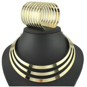 Liffly Modeschmuck Sets Übertrieben Kreative Design Afrikanische Gold Halskette Charme Armband für Frauen Party Geschenke Zubehör