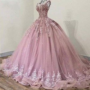 Glitter Sequins Tulle Cinderella Prom Quinceanera Vestidos de baile 2020 Blush rosa Applique de cristal frisada drapeado Vestidos De Festa Doce