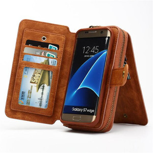 wholesale Multifunction Wallet Leather Case For Samsung S4 S5 S6 S7 EDGE S8 S9 NOTE4 NOTE5 Note8 Zipper Purse Pouch Bags Lady Handbag