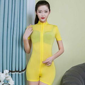 섹시한 의상을 통해 더블 지퍼 Playsuits 여성 짧은 소매 슬림 바디 수트 열기 가랑이 에로 쉬어 평상복 나이트 클럽 참조