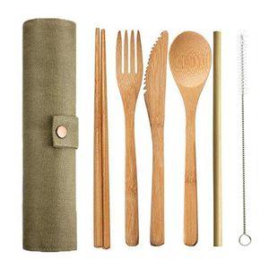 6pcs / set Bambo Cutlery Set Wooden Flatware Set Japanese Knife Shoke Stuch Chopstick Bag Kitchen Tools Cooking
