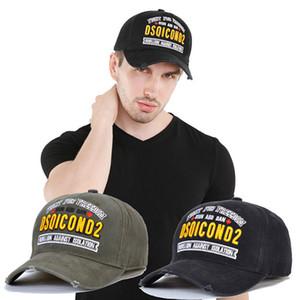 Cap DSQICOND2 Baseball Hat para o homem ladys preto Snapback Hip Hop Mulher Dad Marca Casquette Hat alta qualidade Carta bordado fim forgign