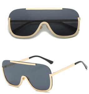 새로운 대형 방패 선글라스 큰 프레임 합금 원피스 섹시한 멋진 태양 안경 여성 골드 클리어 안경 그라데이션 음영 6 색 5 개