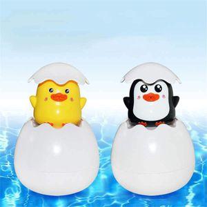 Детские Cute Duck Egg Penguin Яйцо Ванна Душ Распыление воды разбрызгивания воды игрушки Новые поливание игрушки Мультфильм новизны Забавный подарок для детей