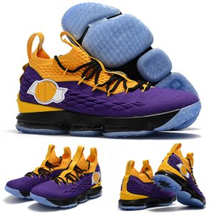 New New LeBron 15 XV EP Los Angeles Home Yellow Purple Orange Kids Basketball Shoes Qaulitys Athletic Mens Trainers 15s Sports