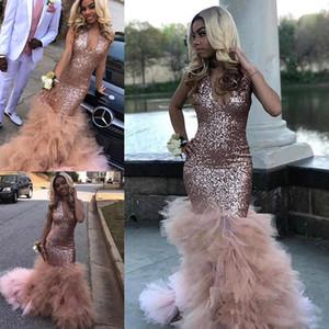 African Black Girls Sequined платье розового золота партии Отпуск Носите V шеи Выпускной вечер мантии выполненное на заказ