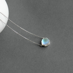 45cm Crystal Gemstone s925 Silver Aurora Necklace Halo Scale Light Forest Women Pendant Necklace for Girl Elegant Jewelry