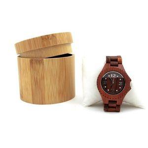 Bambú natural de la caja del reloj de la joyería de madera cuadro titular de reloj de los hombres Colección Caja de joyería caja de almacenamiento de visualización