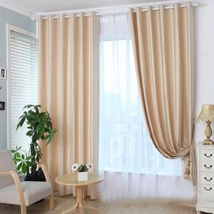 Sólido habitaciones en luz de color de algodón de lino dormitorio puerta de la ventana Drape Blackout Curtain Bloque 2018