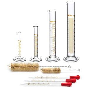 PPYY NUEVO -4 Probeta - 5 ml, 10 ml, 50 ml, 100 ml - Cristal Premium - Contiene 2 cepillos de limpieza + 3 x 1 ml Pipetas de cristal