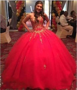 Kızlar Tatlı 16 Elbiseler Kırmızı Quinceanera Elbiseler Altın Aplikler Boncuk 2019 Örgün Elbise Balo Abiye Puf Vestidos De 15 Anos