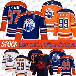 Edmonton Oilers Wayne Gretzky Jersey 97 Connor McDavid 29 Leon Draiseaitl 93 Ryan Nugent Hopkins 2019-2020 الفانيلة الهوكي الثالثة