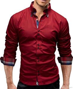 Gömlek Moda Tasarımcısı Kasetli Erkek Giyim Casual Slim Uzun Kollu Erkek Sonbahar Lüks Men Tops