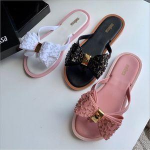 Mini Melissa 2019 nouvelles femmes sandales Flip Flop nœud papillon brésilien Jelly Shoes femmes Melissa pantoufles pantoufles femmes