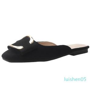 Nuevo 2019 del dedo del pie cuadrado de las mujeres mulas gamuza de cuero plano de diseño en los zapatos de lujo zapatos de las mujeres plisadas verano de las mujeres de los planos Mujer L05