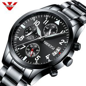 NIBOSI Herrenuhr Top-Marke Luxus-Geschäfts-Quarz-Uhr-Mann-Edelstahl-Band-Uhr Relogio Masculino Horloges Männer