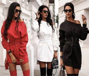 Mode Soild Farbe legere Kleidung loser Rundhalsausschnitt Designer Damen Warme Kleider Schlank Schärpen Damenmode