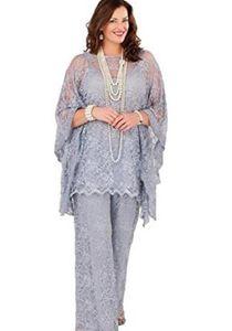 Spitze Mutter der Braut Hose Anzüge 2019 mit langen Ärmeln Drei Stücke Silber Grau Formelle Frauen Plus Size Bräutigam Abend Party Kleider