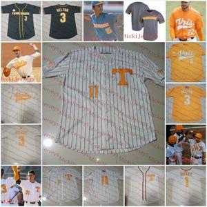 Homens personalizado Tennessee Volunteers Baseball Jersey Andre Lipcius Jay Charleston Ricky Martinez Justin Ammons Garrett Stallings Tennessee Jersey