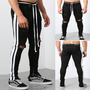 Schärpen Reißverschluss mittlere Taillen-dünne Jeans-beiläufige Art und Weise Kleid der Männer Mens Panelled Ripped Bleistift-Jeans Designer