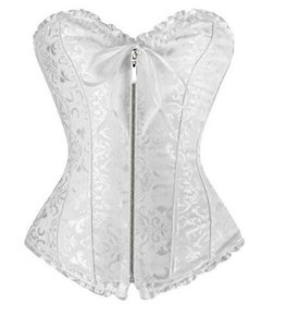 Sexy White Women Plus Size Corset Zipper Overbust Shapewear With Thong Burlesque Korsecorpete Corselet Espartilho Free Shipping