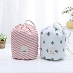 Women Cosmetic Bag Beauty Makeup Bag Travel Barrel Storage Basket Foldable Waterproof Wash Bag Polka Dot Bathroom Organizer GWC422