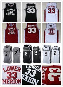 Nuevo Maria Onore 2 Gigi Mamba Lower Merion ° 33 de Bryant conmemorativos de la escuela de baloncesto de los jerseys de la Universidad de Connecticut Huskies nº 2 Gianna Camisas bordadas