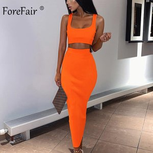 Forefair Two Piece Women Summer Set Neon Pink Green Orange Off Shoulder 2 PCS Party Club Ribbed Knitted Sexy Midi Dress MX200518